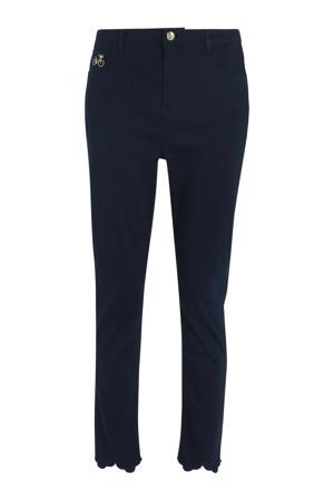 slim fit broek met borduursels donkerblauw