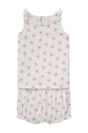 shirt + korte broek wit/roze