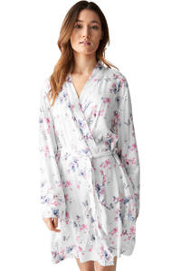 C&A Lingerie gebloemde kimono wit/roze/blauw, Wit