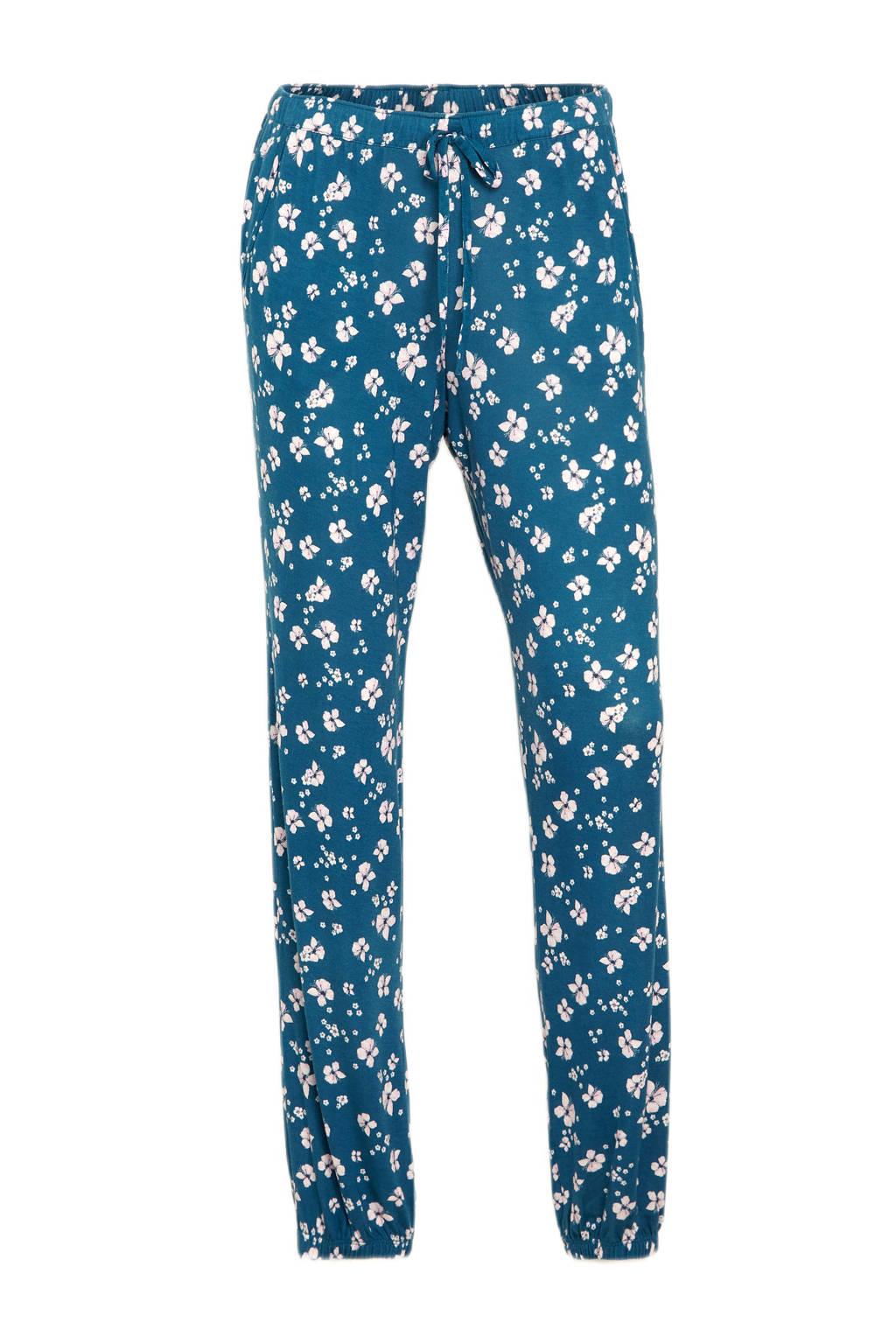 C&A Lingerie gebloemde pyjamabroek blauw/wit, Blauw/wit