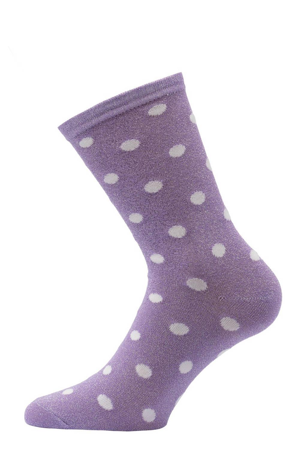 Pinned by K lurex sokken met stippen paars, Paars