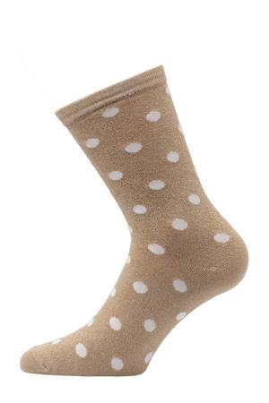 lurex sokken met stippen lichtbruin