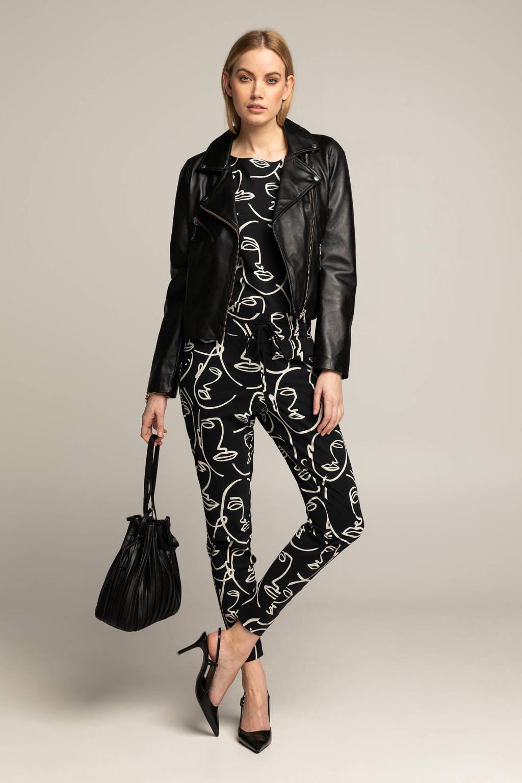 Expresso slim fit pantalon BFARAH met all over print zwart/wit, Zwart/wit