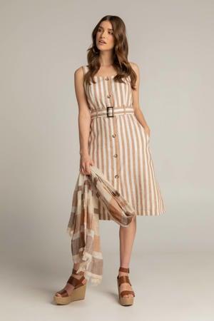 gestreepte jurk GILLY beige/wit