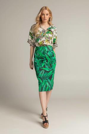blouse 212EILEEN met bladprint wit/groen/zwart
