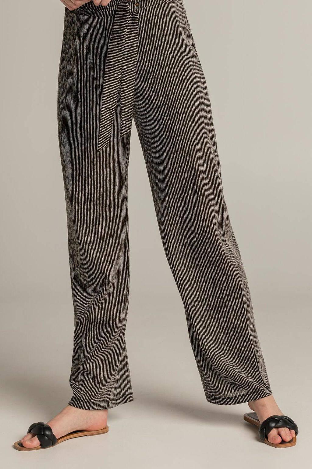 Expresso gestreepte high waist wide leg palazzo broek 202FABIA zwart/zilver, Zwart/zilver