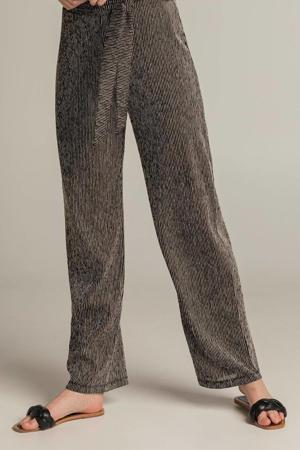 gestreepte high waist wide leg palazzo broek 202FABIA zwart/zilver
