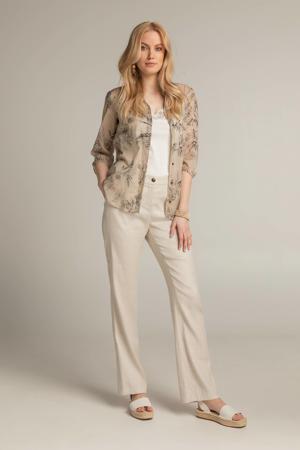 blouse 212FORTUNE met bladprint zand/zwart