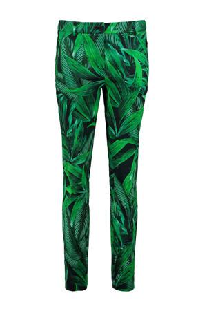 slim fit pantalon 212EBKE met bladprint groen