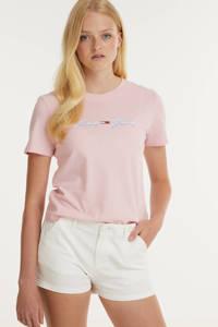Tommy Jeans T-shirt van biologisch katoen lichtroze, Lichtroze