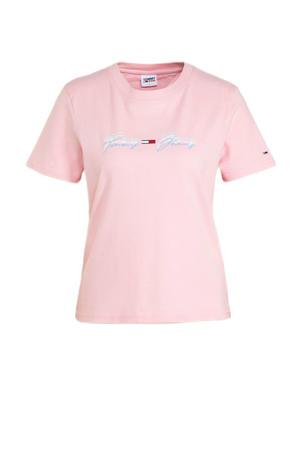 T-shirt van biologisch katoen lichtroze