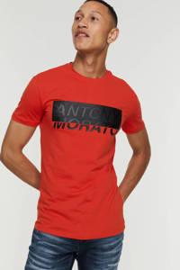 Antony Morato super slim fit T-shirt met tekst oranje, Oranje