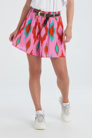 wide leg korte broek Diamond met all over print roze/rood/bruin/turquoise