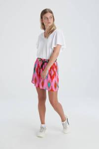 Shoeby Eksept wide leg korte broek Diamond met all over print roze/rood/bruin/turquoise, Roze/rood/bruin/turquoise