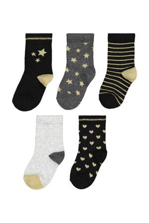 sokken - set van 5 zwart/goudkleurig