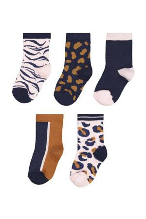 sokken - set van 5 bruin/zwart