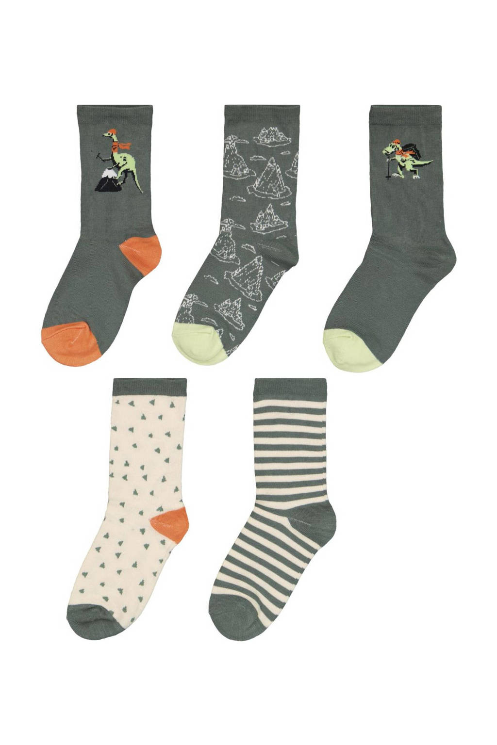 HEMA sokken - set van 5 donkergroen/ecru, Donkergroen/ecru