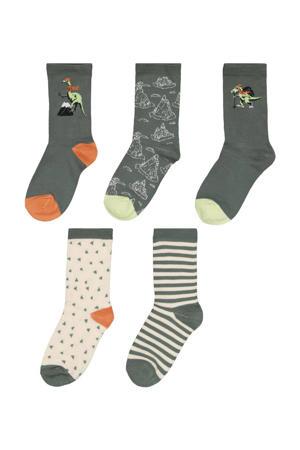 sokken - set van 5 donkergroen/ecru