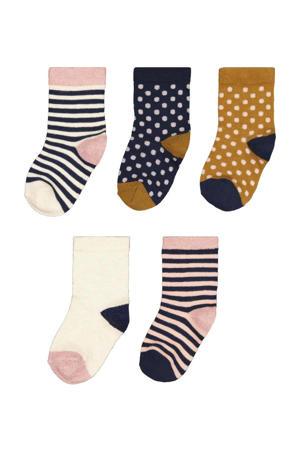 sokken - set van 5 zwart/lichtroze