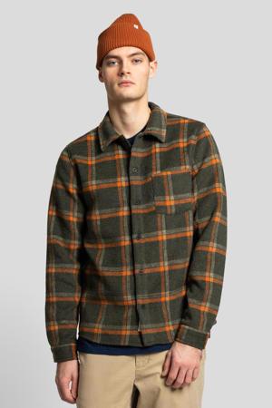 geruit regular fit overhemd army
