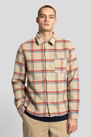geruit regular fit overhemd offwhite