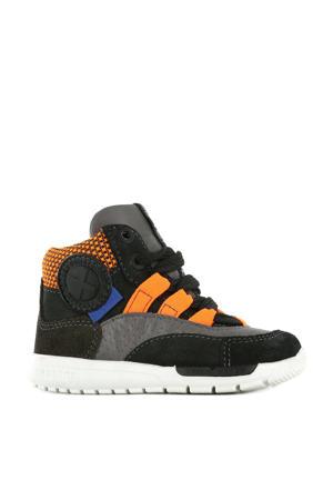 RF21W041-C  hoge leren sneakers zwart/oranje