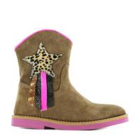 Shoesme SI21W082-B  leren cowboylaarzen bruin/roze, Bruin/roze