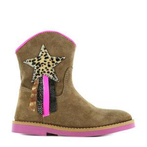 SI21W082-B  leren cowboylaarzen bruin/roze
