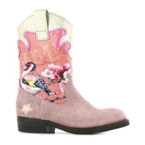 WT21W112-C  leren cowboylaarzen met dierenprint roze