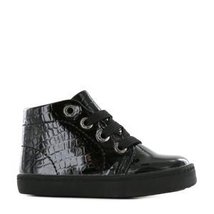 Flex FL21W001-L lakleren veterschoenen met crocoprint zwart