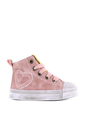 SH21W021-A  hoge leren sneakers roze