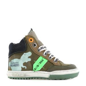 EF21W037-B  leren sneakers kaki