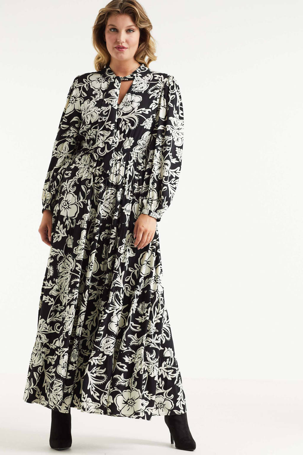 Miljuschka by Wehkamp maxi jurk met bloemenprint zwart/wit, zwart, ecru