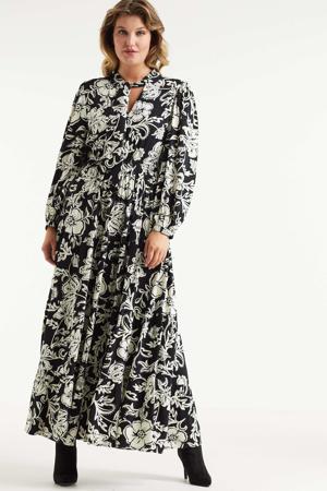 maxi jurk met bloemenprint zwart/wit