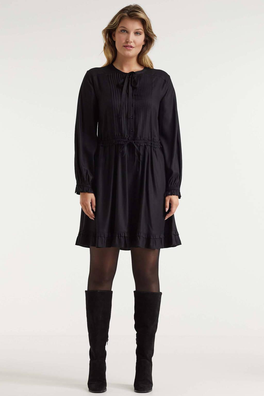 Miljuschka by Wehkamp jurk met plooien zwart, Zwart