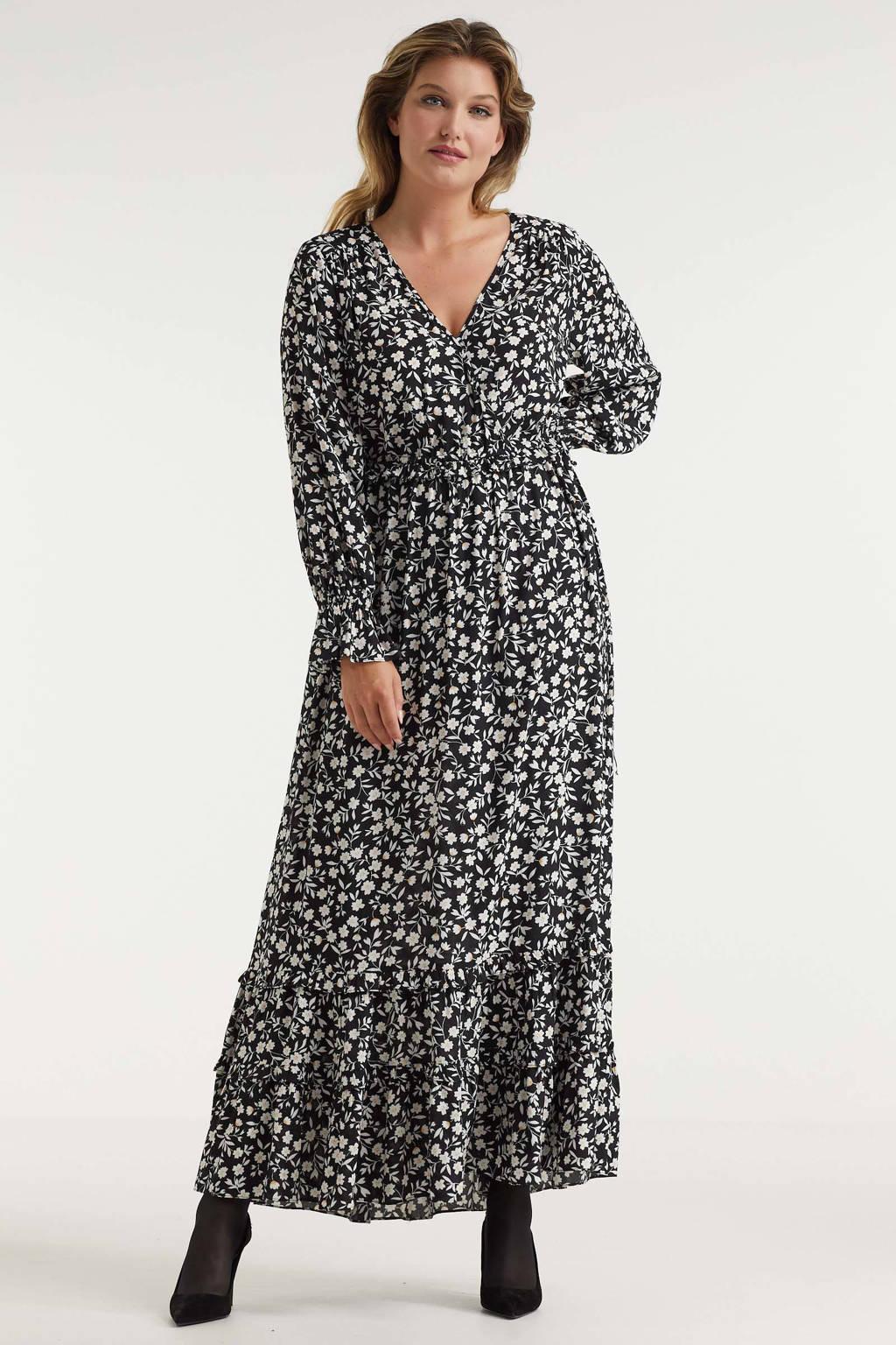 Miljuschka by Wehkamp maxi jurk met mini bloemenprint zwart/wit, Zwart/wit