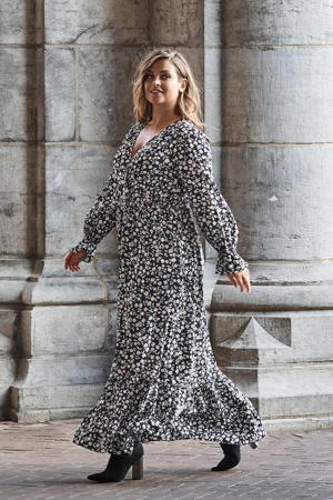 maxi jurk met mini bloemenprint zwart/wit