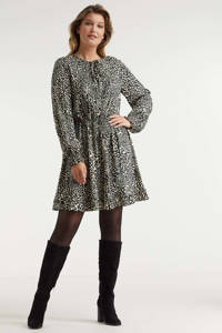 Miljuschka by Wehkamp jurk met plooien dierenprint, Ecru, zwart