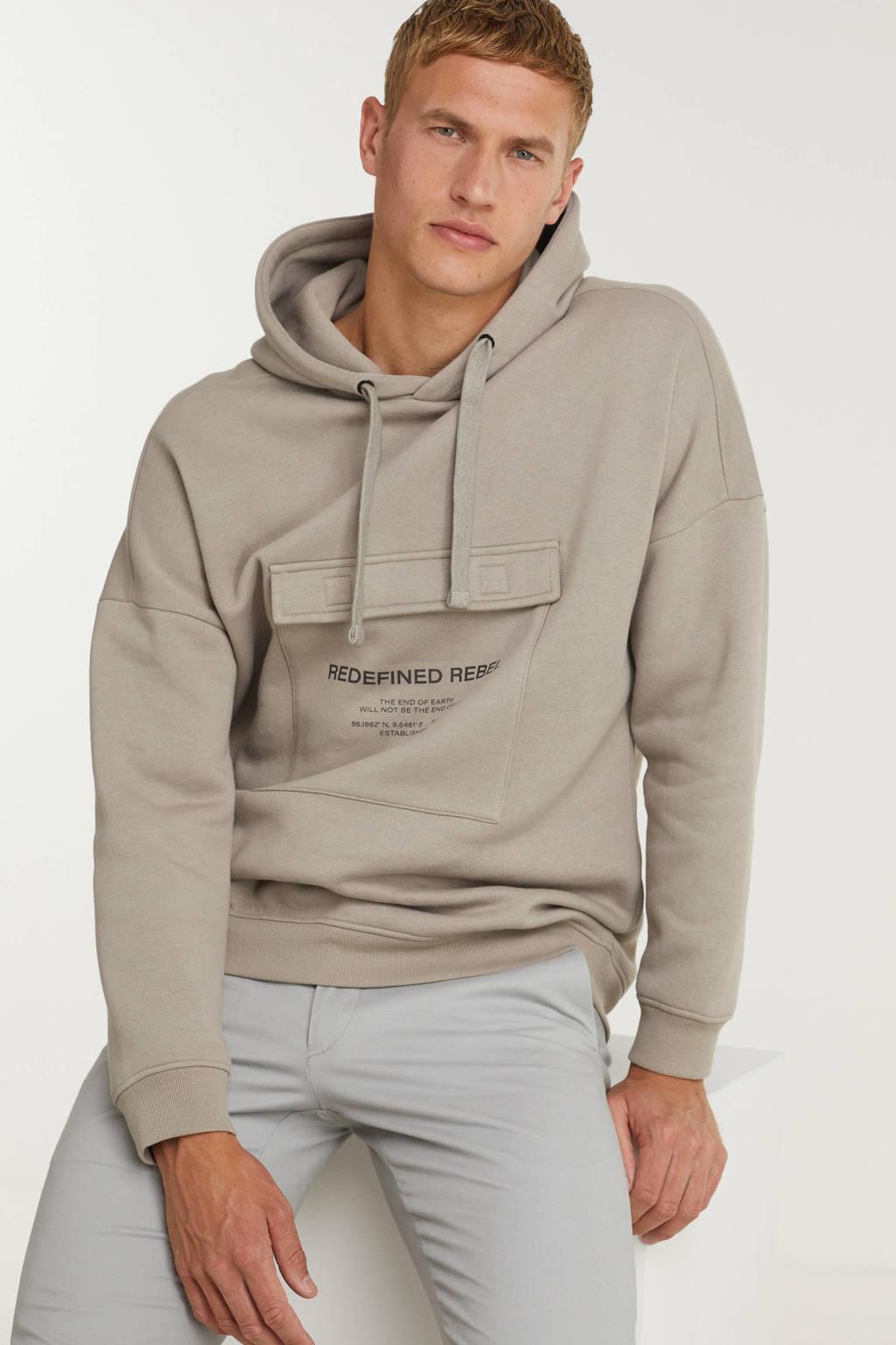 Redefined Rebel hoodie Josiah met biologisch katoen mourning dove, Mourning Dove