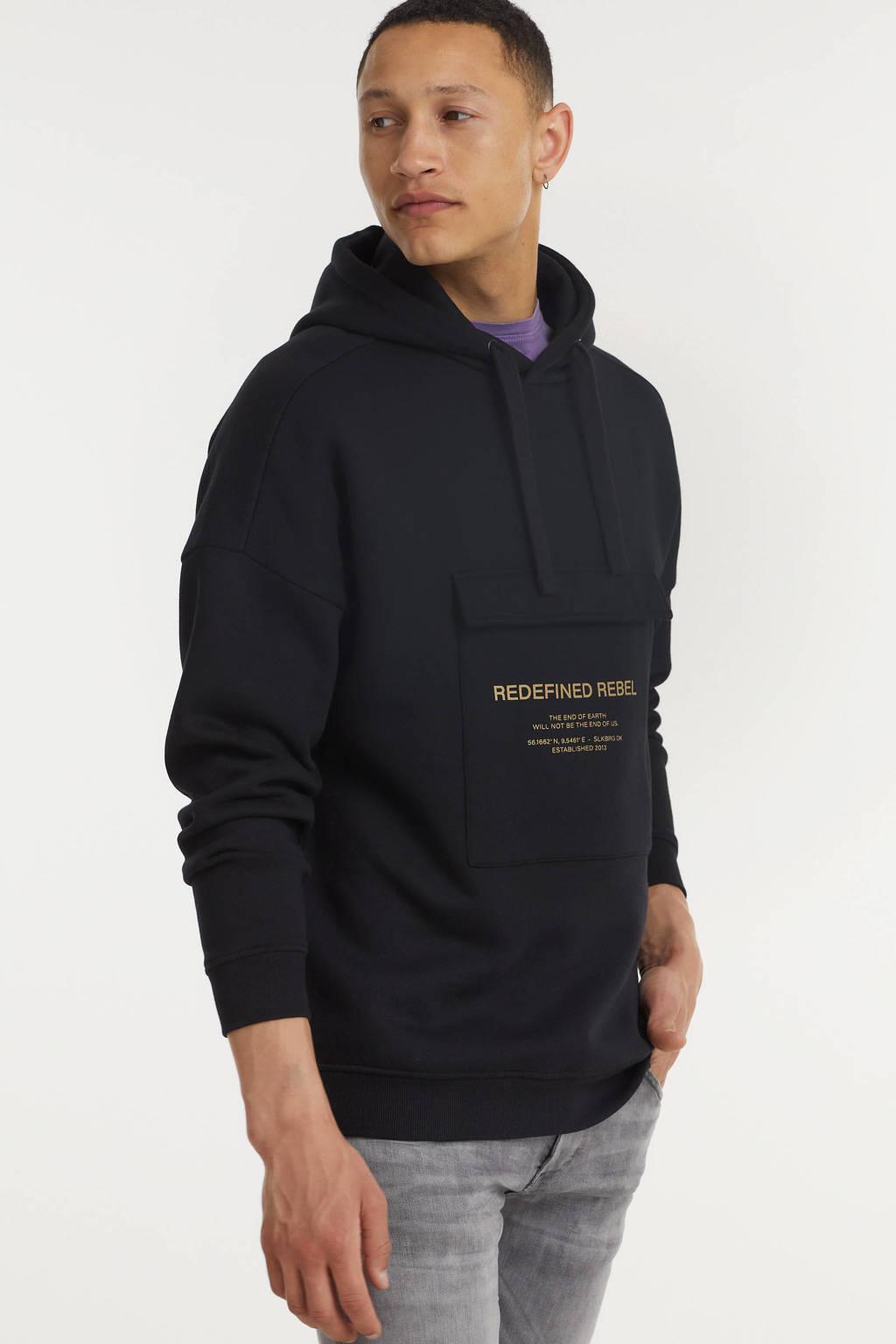 Redefined Rebel hoodie Josiah met biologisch katoen zwart, Zwart