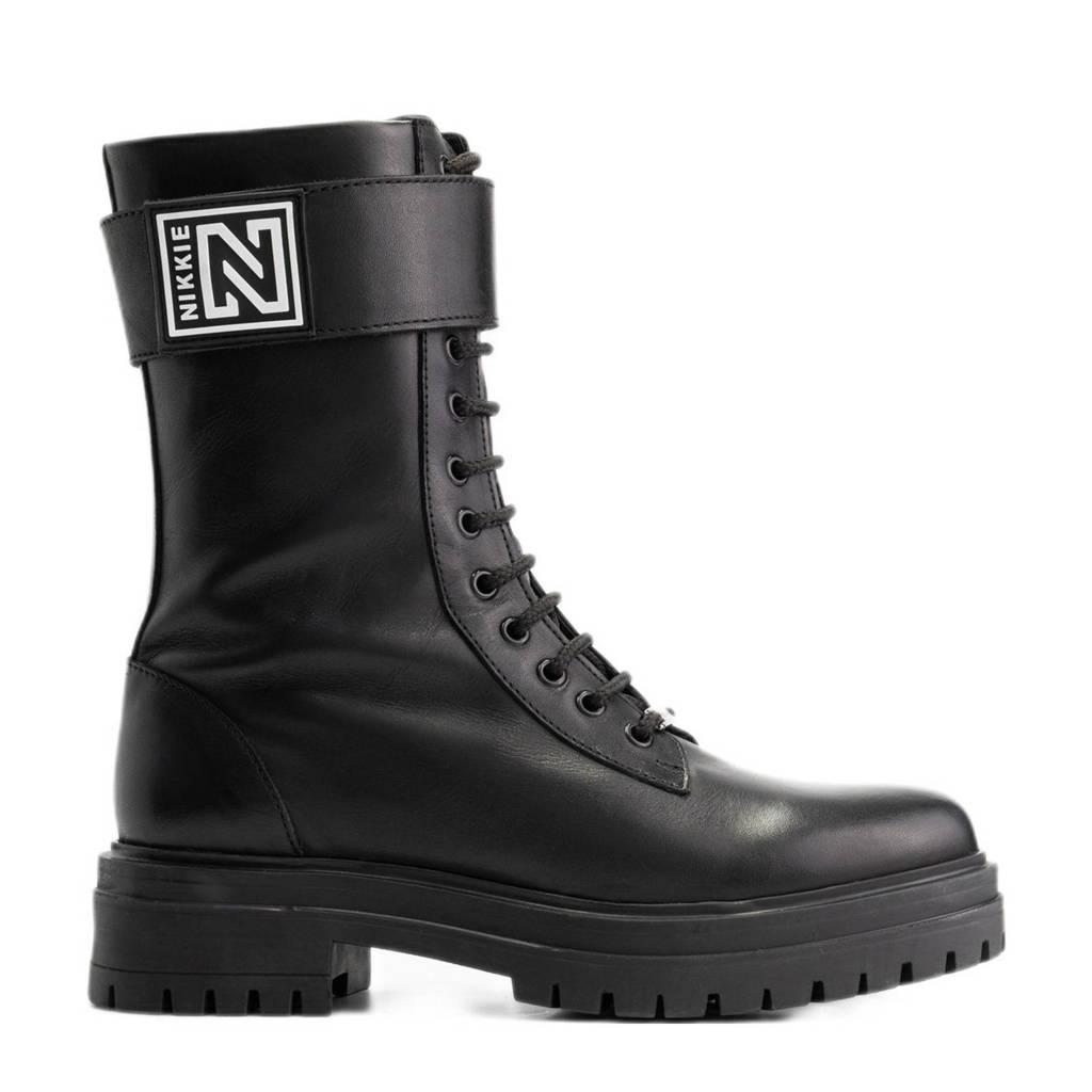 NIKKIE Philein High Boots  leren veterboots zwart, Zwart