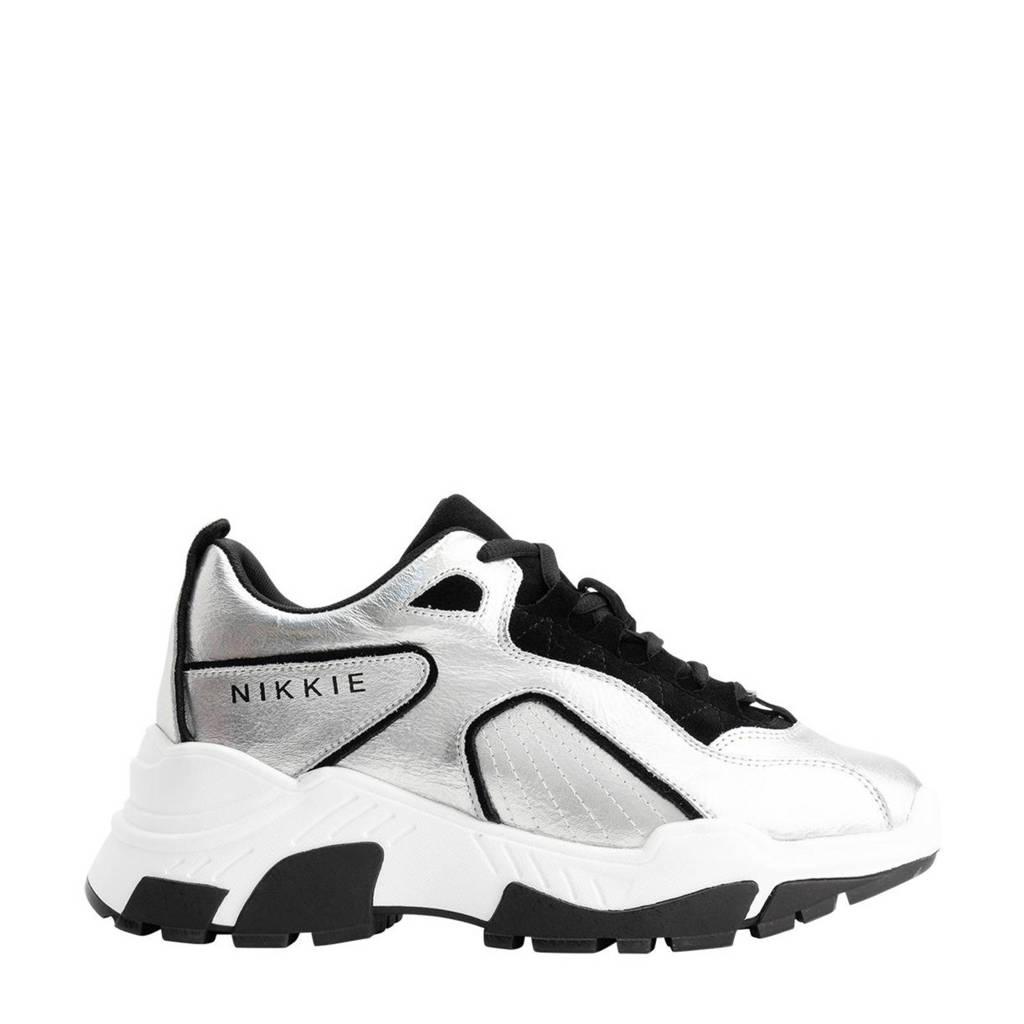 NIKKIE PIA  leren chunky sneaker zilver/zwart, Zilver/zwart