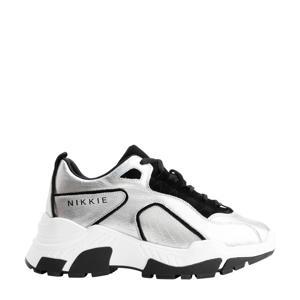 PIA  leren chunky sneaker zilver/zwart
