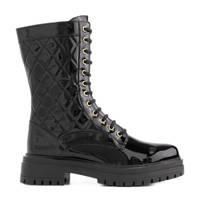 NIKKIE Pippa Boots  lakleren veterboots zwart, Zwart