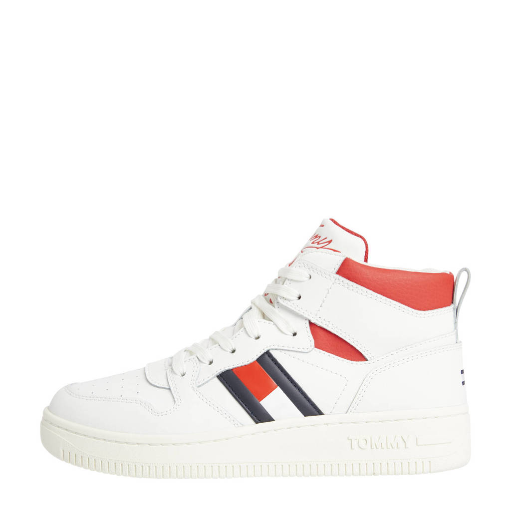 Tommy Jeans Meg 2A  hoge leren sneakers wit/rood, Wit/rood