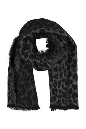 sjaal met luipaardprint  grijs
