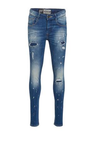 super skinny jeans Bangkok Crafted met slijtage mid blue stone