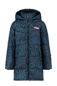 Raizzed  winterjas Munchen met panterprint blauw/zwart, Blauw/zwart