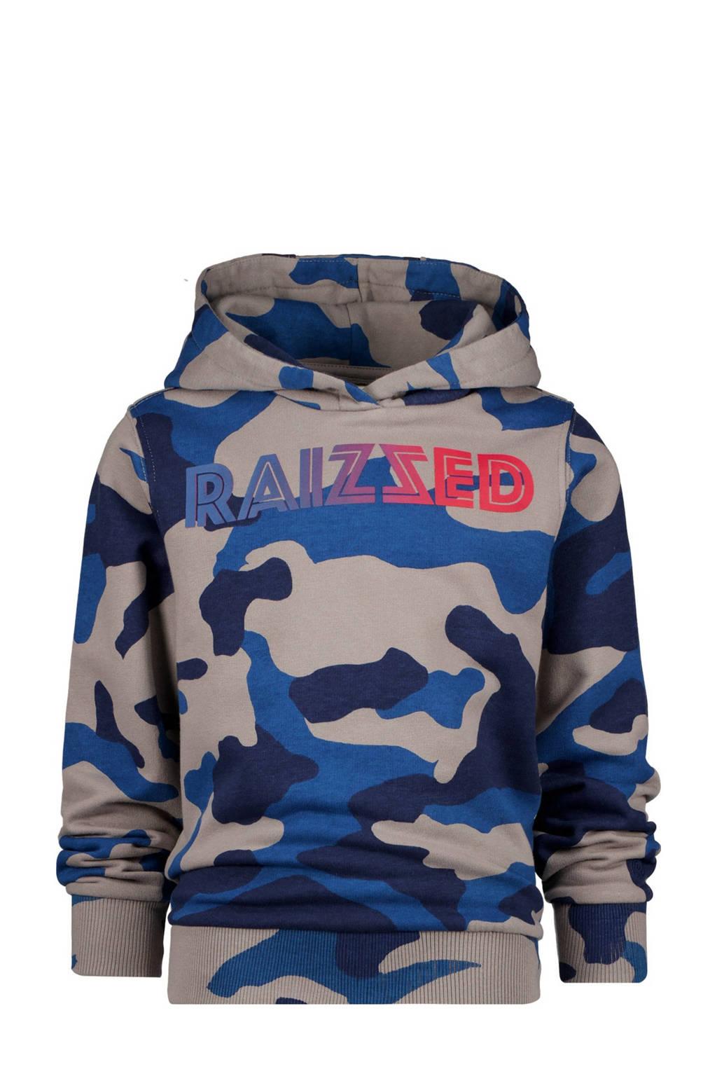 Raizzed hoodie Marsthon met camouflageprint blauw/zand, Blauw/zand