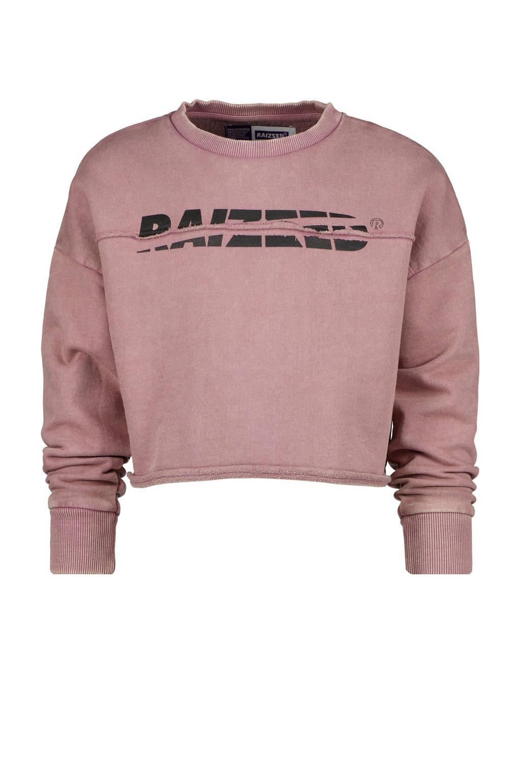 Raizzed sweater Bergen met logo oudroze, Oudroze